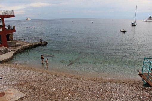 Beach, Italy, Capri, Extinct, Wave, At Sea, Clouds