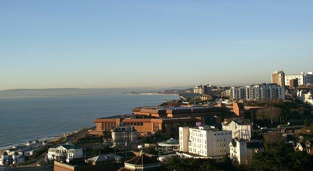 Bournemouth, Dorset, England, Uk, Rooftops, Blue Sky