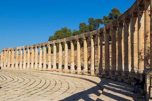 Jerash, Jordan, Roman, Pillars, Circle, Centre, Ruin