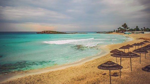 Cyprus, Ayia Napa, Sandy Beach, Empty, Sand, Sky