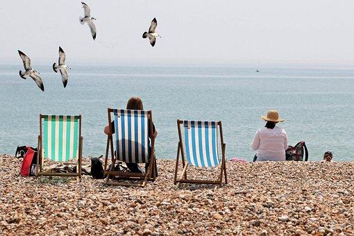 Deck Chairs, Seaside, Beach, Sea, Ocean, Sunny