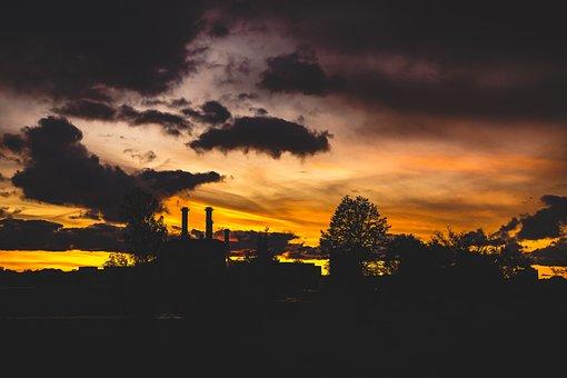 Autumn Sky, Factory Chimney, Trees Silhouette, Autumn