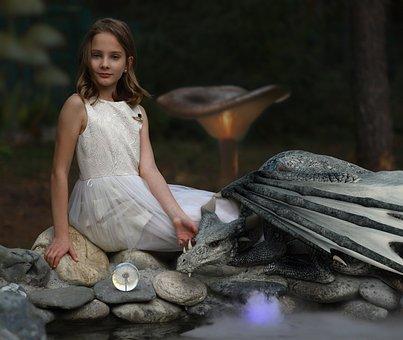 Girl, Dragon, Fantasy, Magic, Crystal Ball, Mushrooms