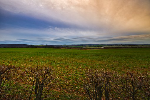 Landscape, Morning, Field, Wide Angle, Clouds, Sky