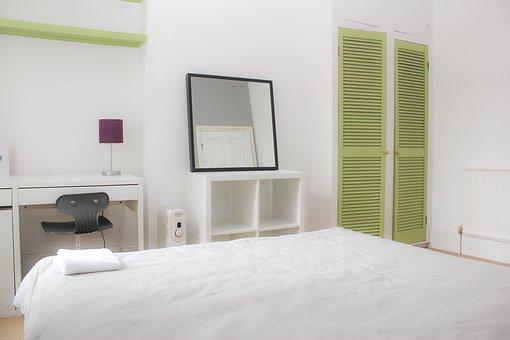 Bedroom, Mirror, Green Doors, Furniture, Bed, Girl