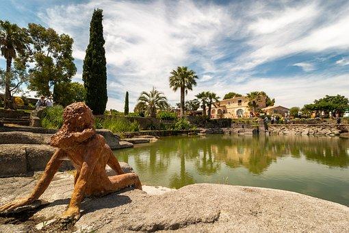 Statue, Lac, Garden, France