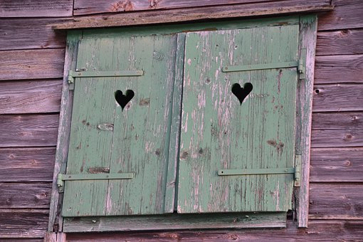 Wood, Woodhouse, Wooden Shutters, Window, Heart, Old