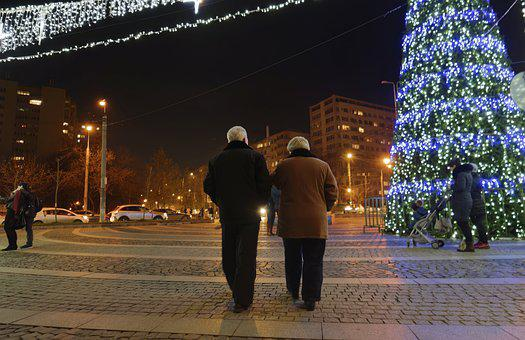 Couple, People, Age, Going, Together, In The Evening