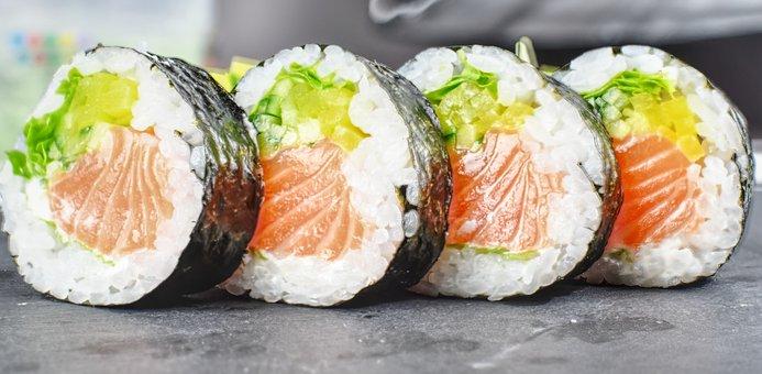 Sushi, Eating, Food, Japan, Japanese, Salmon, Fish