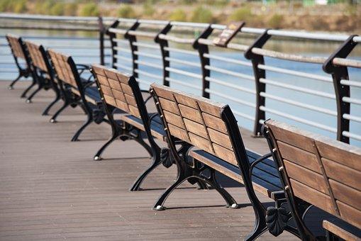 Bench, Chair, Korea, River