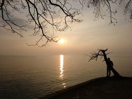 Lake, Sunset, Sun, Sea, Sky, Water