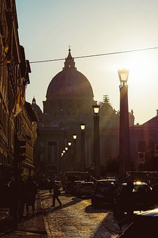 Rome, Sun, Light, Historically, Vatican, Church, Dome