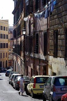 Rome, City, Laundry, Residence, Local, Window, Facade