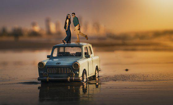 Miniature, Art, Love, Romance, Sunset
