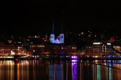 Lucerne, Night, Landmark, Lights, Neon, Lighting