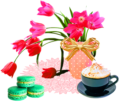 Floral With Cappuccino, Macaroons, Macarons