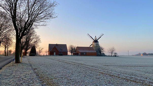 Mill, Winter, Frost, Landscape, Nature