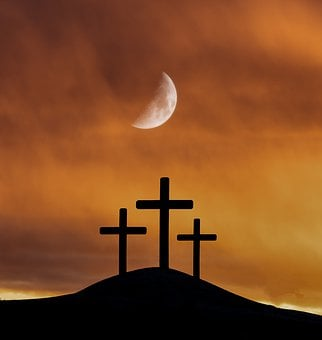 Moon, Crosses, Easter, Faith, Calvary, Golgotha, Jesus