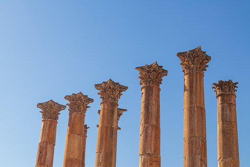 Pillars, Roman, Column, Ancient, Architecture, Jordan