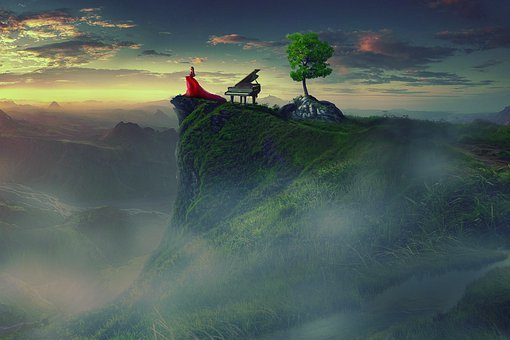 Music, Tree, Mounted, Women, Mount, Portrait, Sky, Nose