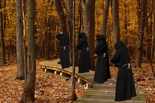 Trail, Monks, Procession, Fall, Forest, Leaves, Foliage