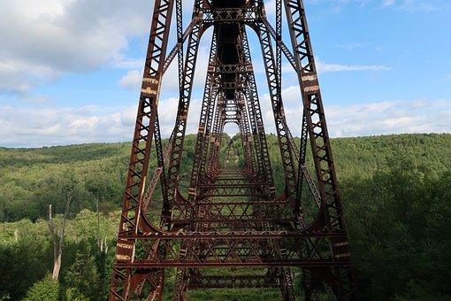 Railway Bridge, Usa, Forest, Landscape, Water, Sky