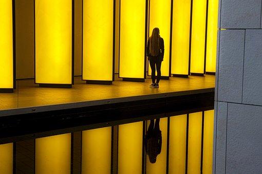 Silhouette, Corridor, Reflection, Light, Shadow