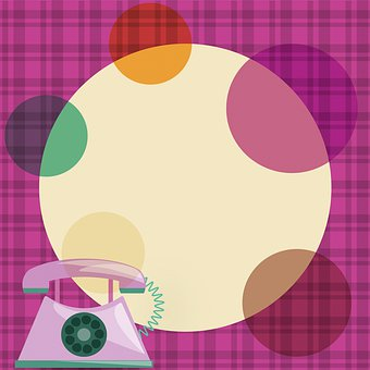 Retro Background, Telephone, Plaid, Pink, Retro, Phone