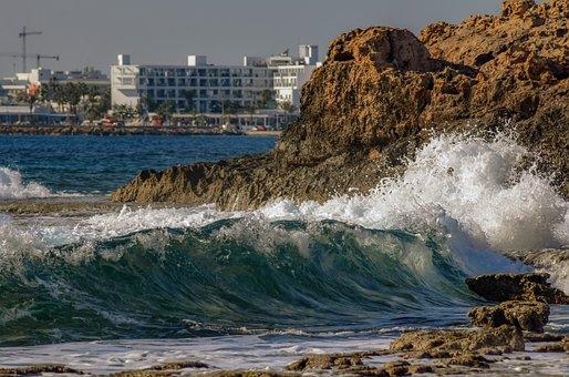 Wave, Rock, Coast, Sea, Crashing, Foam, Spray, Motion