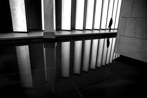 Silhouette, Corridor, Reflection, Light
