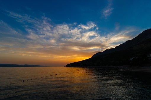Sunset, Sea, Sky, Beach, Water, Evening