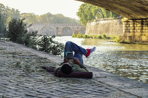 Rome, Tiber, Bridge, Rest, Relax, River, Water, Summer