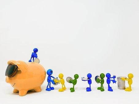 Save, Piggy Bank, Teamwork, Together, Money, Finance