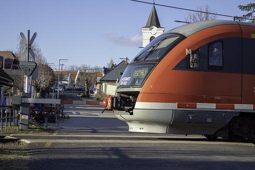 Train, Passageway, Locomotive, Village