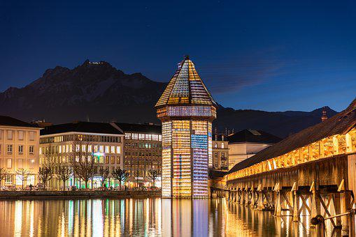 Lucerne, Water Tower, Lighting