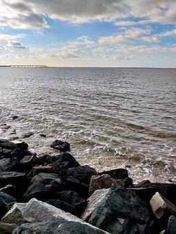 Sunny, Sea, Beach, Roller, Rock, Wave, Cloud, Atlantic
