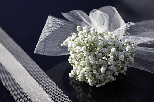 Flowers, White, Bouquet, Wedding, Tulle