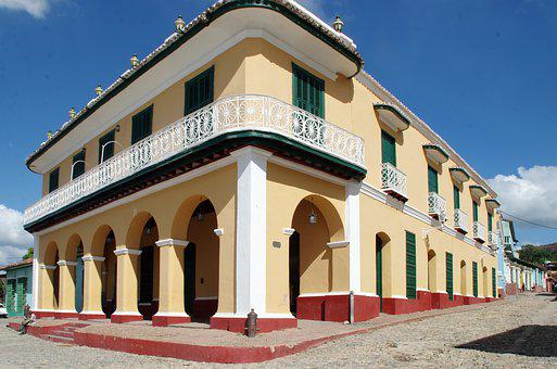 Cuba, Trinidad, Facade, Arcades, Pinion, Architecture