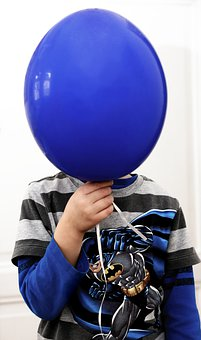 Balloon, Child, Blue, Fun, Head, Funny, Birthday, Play