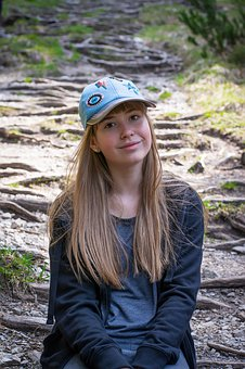 Girl, Young People, Child, Long Hair, Cap, Out, Nature