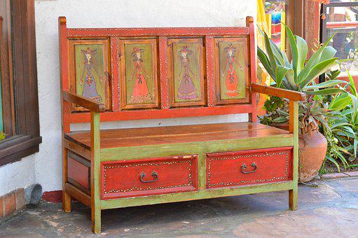 Bench, Rustic, Colorful, Mexican, Day Of The Dead, Seat