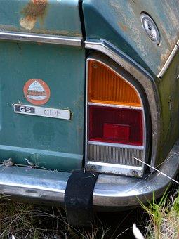 Car, Old, Detail, Citroen Gs, Seventy