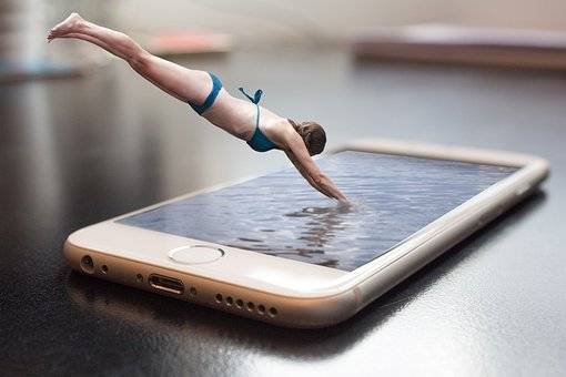 Diving, Diver, Water, Jump, Smartphone, Composition