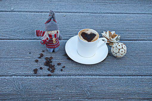 A Cold Day, Coffee, Drink, Coffee Beans, Doll, Heart