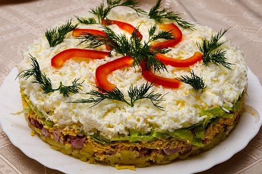 Salad, Cheese, Paprika, Dill, Potatoes, Ham, Egg, Food