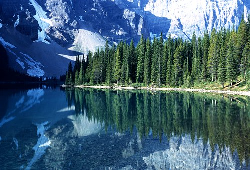 Crystal Clear Reflections, Mountains, Evergreens, Snow