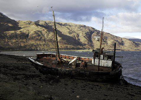 Highlands, Lochaber, Wreck, Beached, Lonely, Boat, Loch