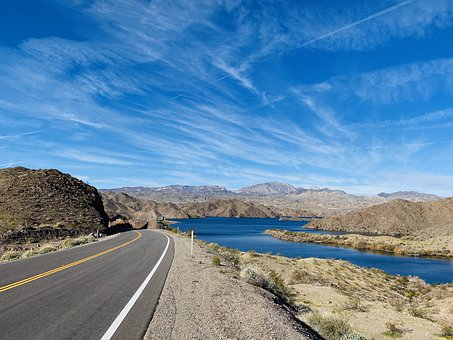Mountain, Road, Lake, Water, Lake Mohave
