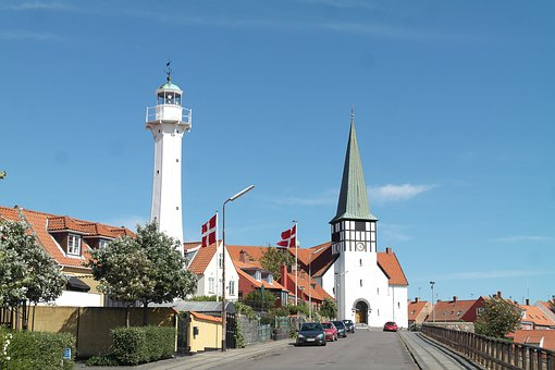 Ronne, Denmark, Lighthouse, Church