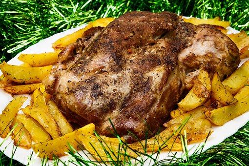 Pork, Meat, Potatoes, Baked, Food, Pig